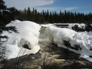 Pisew Falls in the winter