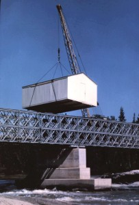 airport building crossing the birdge 1961