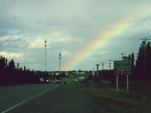 rainbow at the entrance to the town.