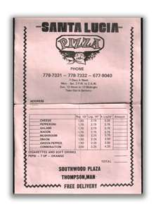 santa lucia pizza menu 1971