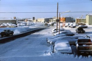 station road 1969 in winter