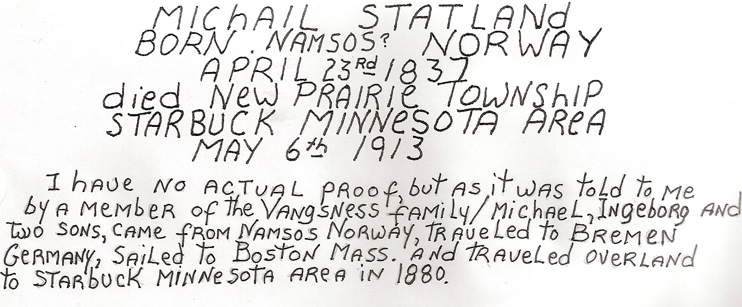 Michail Statland (my g-g-grandfather from Norway)-information