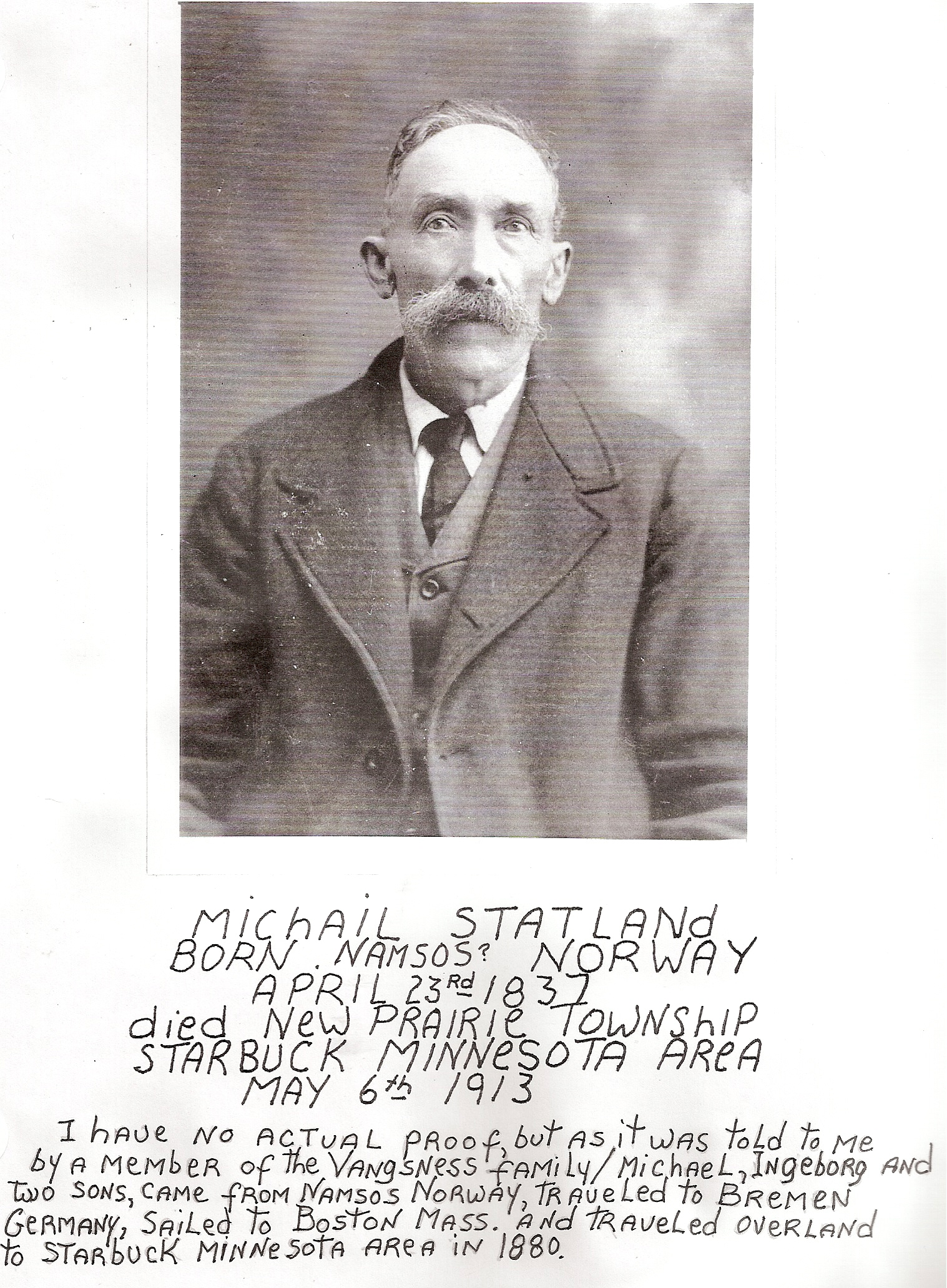 Michail Statland (my g-g-grandfather from Norway)- with info