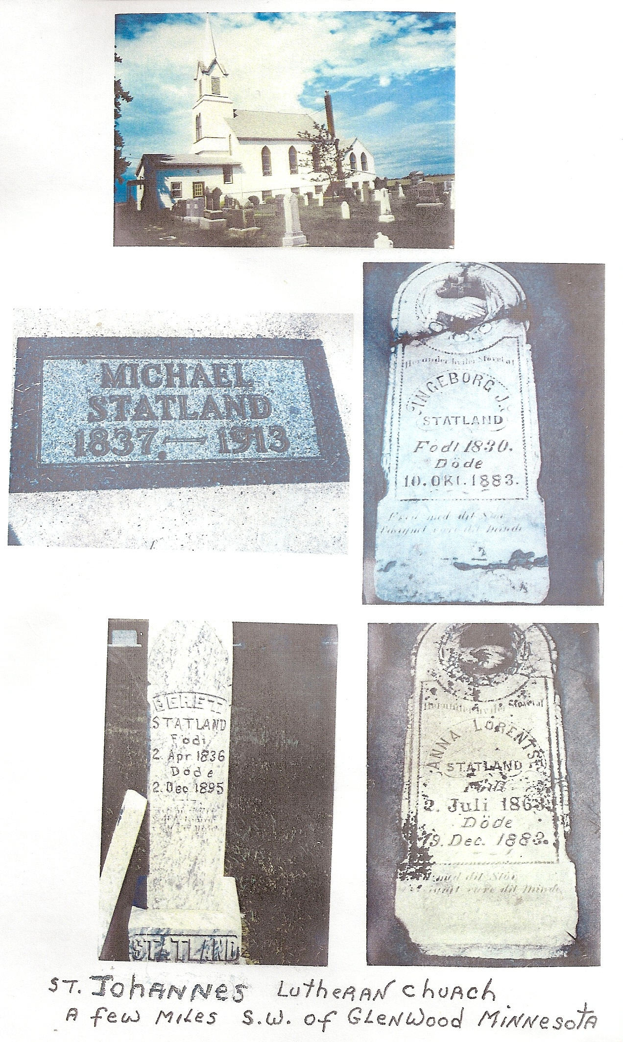 Statland family graves in MN