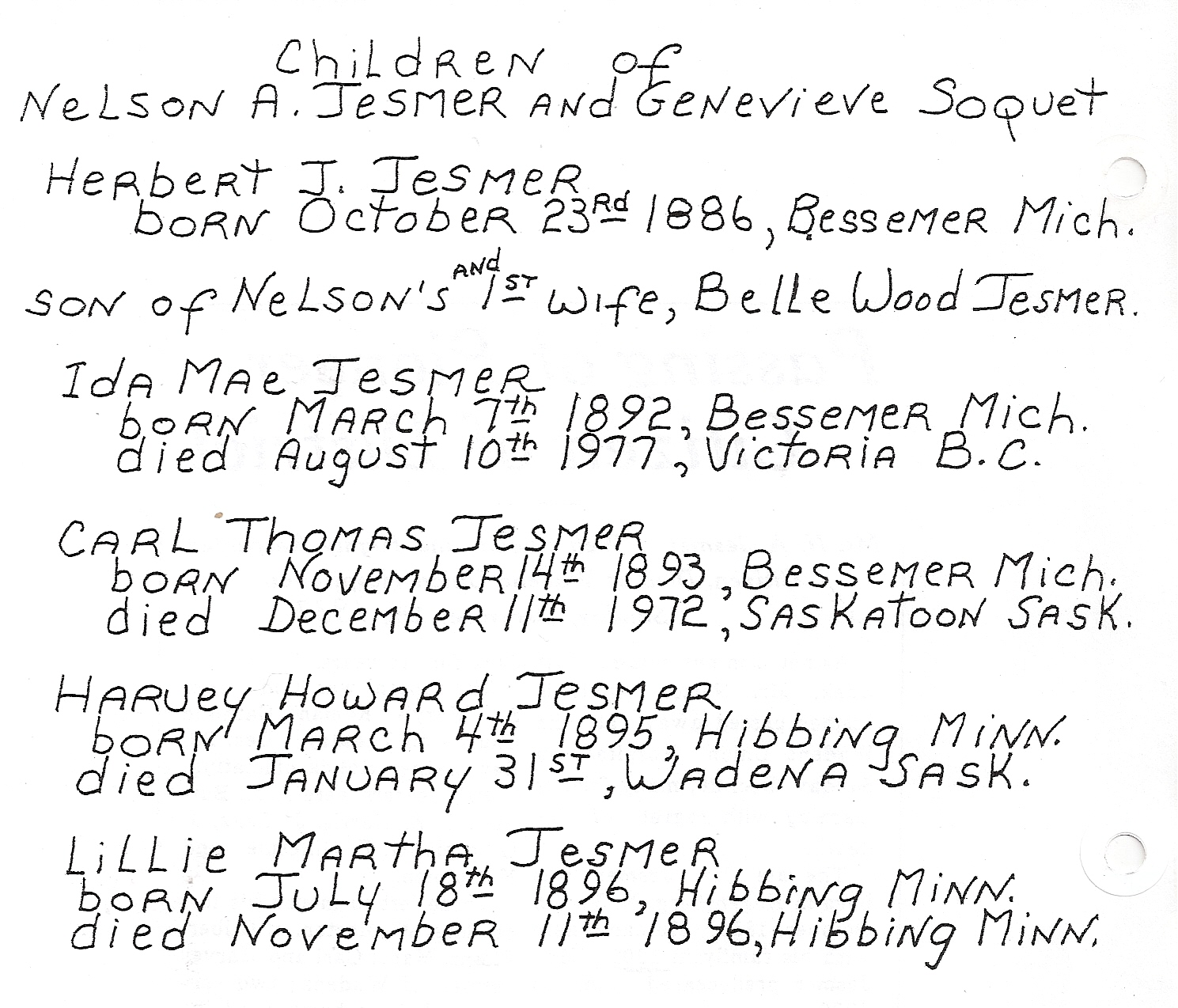 Children of Nelson A Jesmer - a list