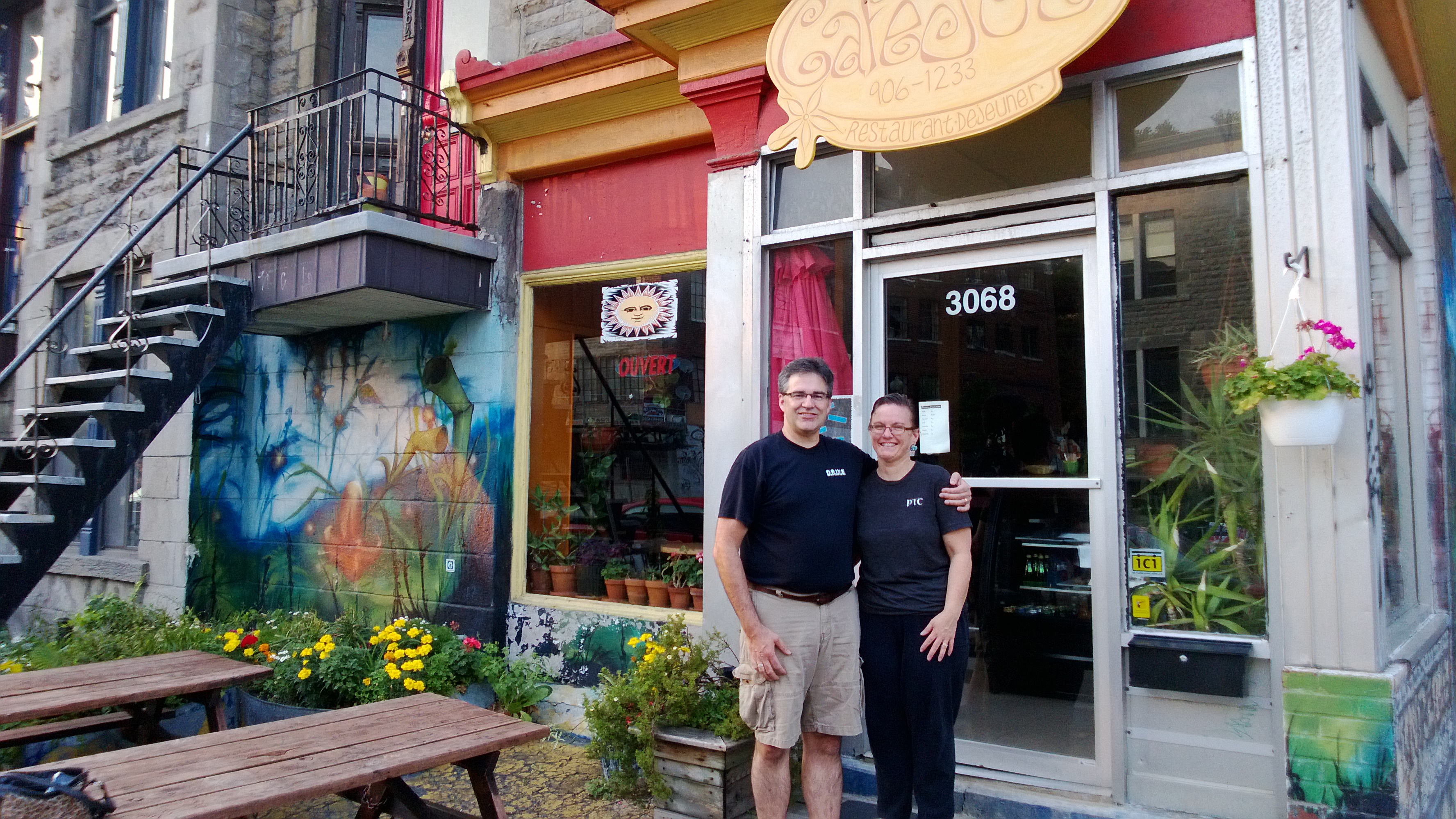 Montreal- kevin and Julie infront of cafe Joe