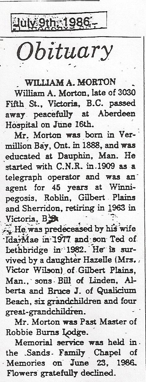 Bills obituary 1986