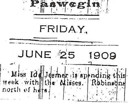 Ida - newspaper article 1909