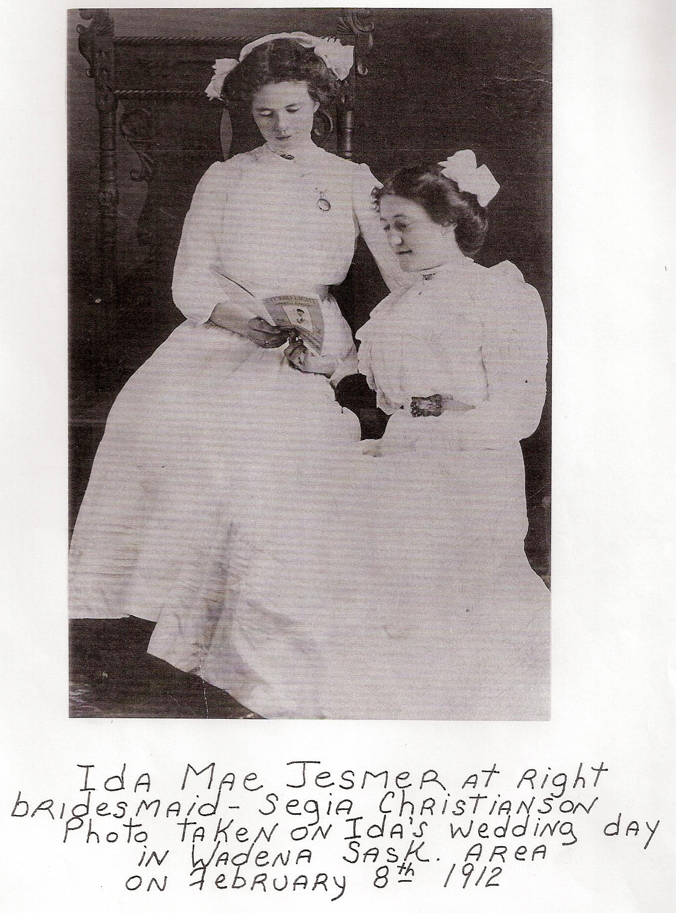 Ida with friend on wedding day 1912