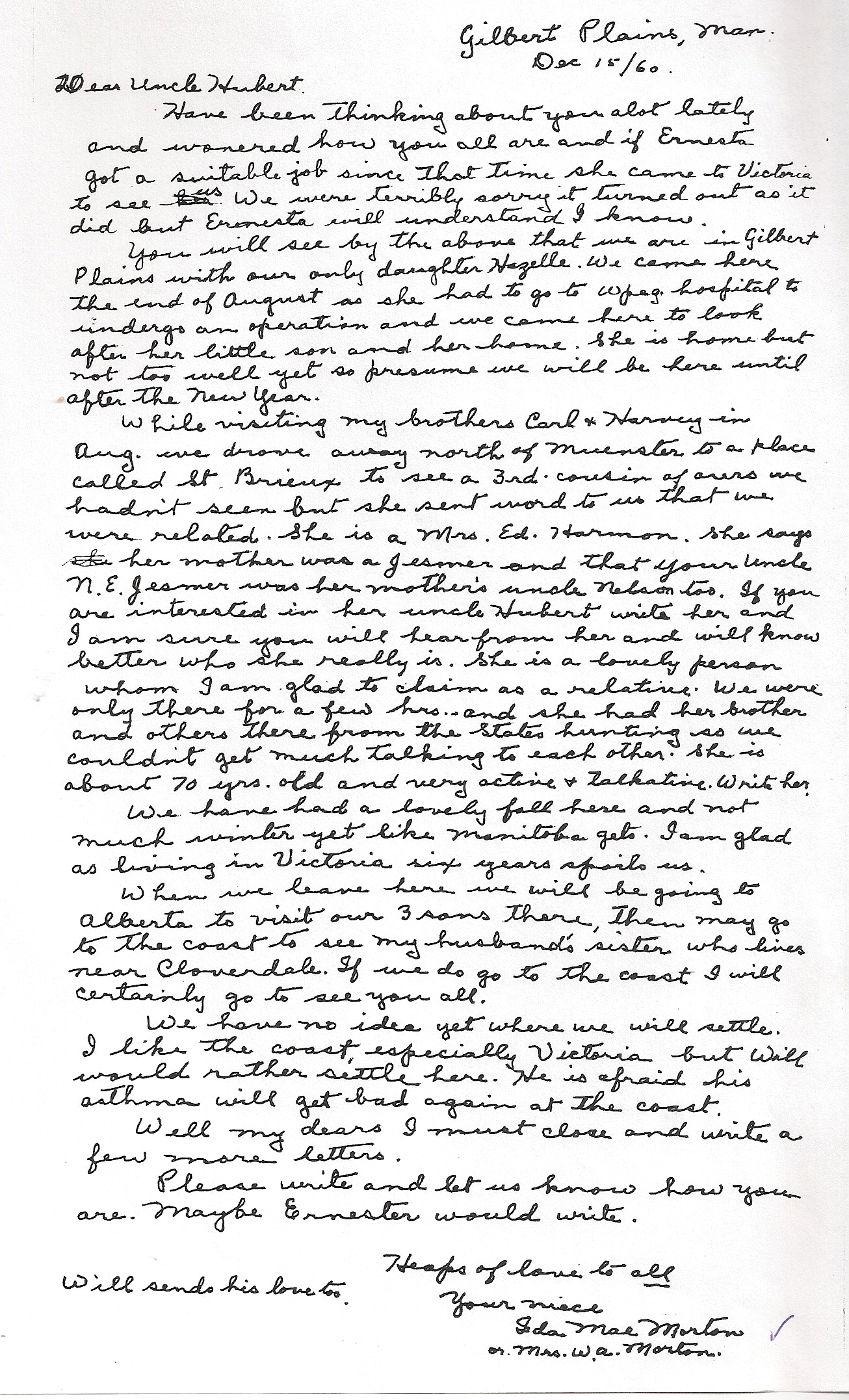 Letter to uncle Hubert 1960