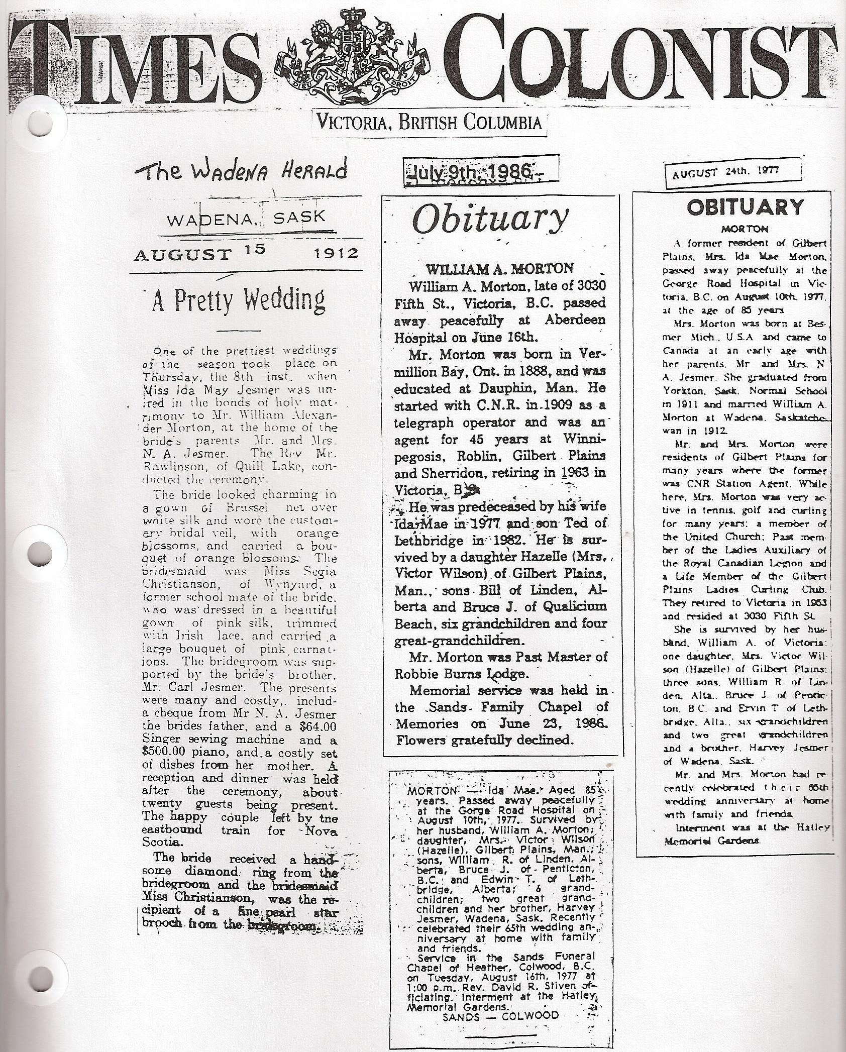 Obituaries of Ida and Bill