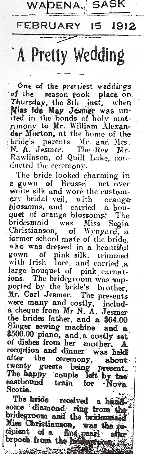 article about the wedding 1912