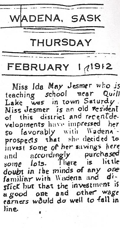 ida visits Wadena and invests 1912