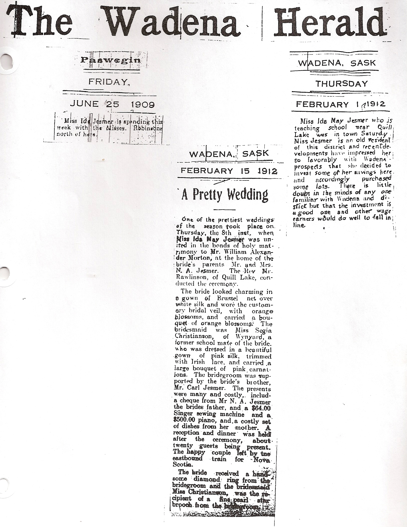 three newspaper articles