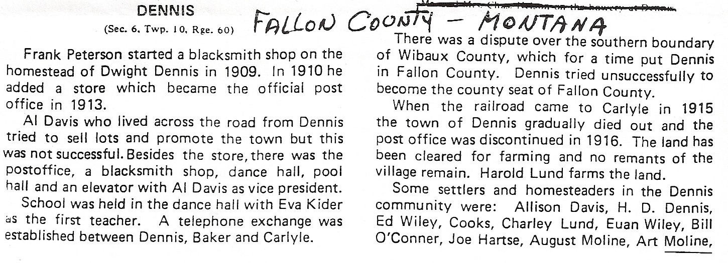 History of the town of Dennis Montana pg 1