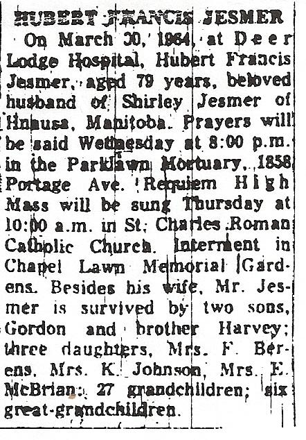 Huberts obituary