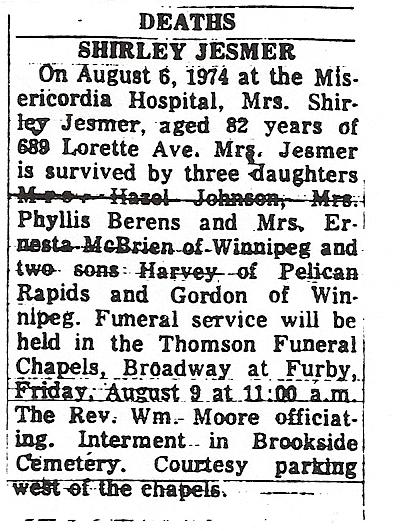 shirely jesmers obituary