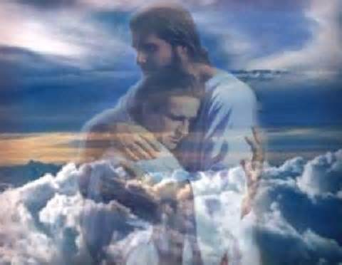 Jesus hugging a man