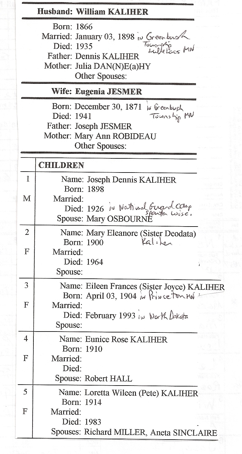 William and Eugenia Kaliher info sheet 2
