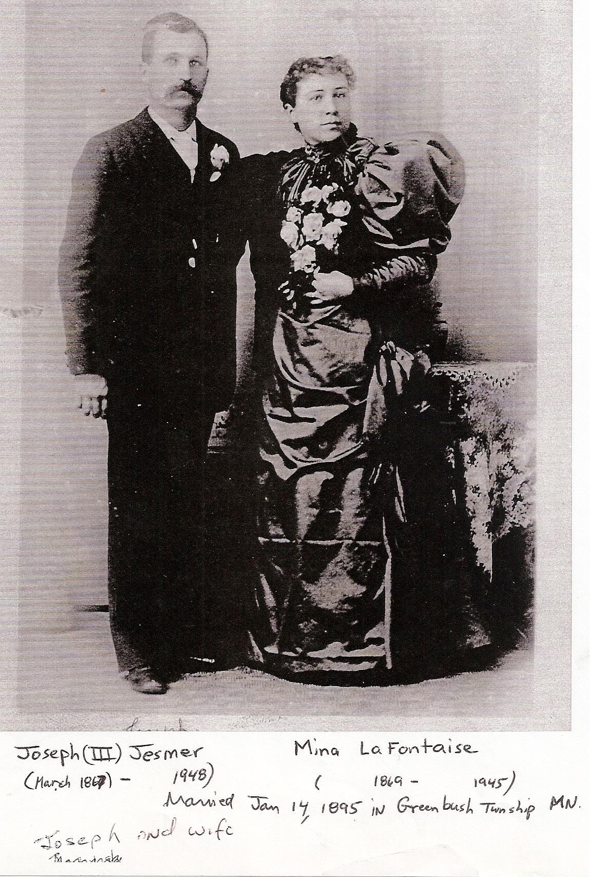 Joseph and Mina Jesmer standing 1890s