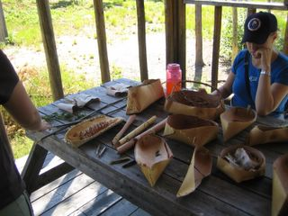 making birch bark canoes -tiny ones 2006