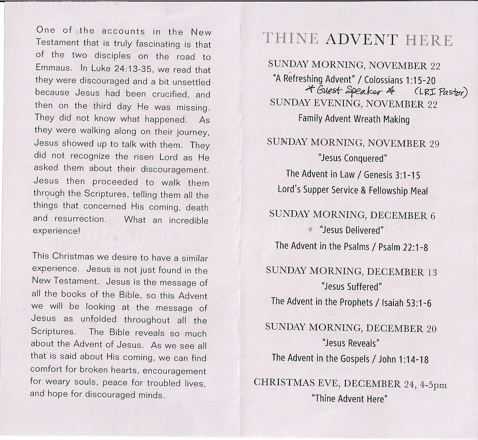 advent 2015 schedule