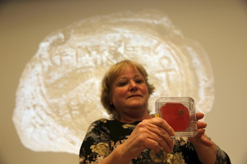 Dr. Eilat Mazar, displays a clay imprint, known as a bulla, which was unearthed from excavations near Jerusalem's Old City, and later discovered to be from the seal of the biblical King Hezekiah, is displayed during a news conference at The Hebrew University in Jerusalem December 2, 2015. REUETRS/Amir Cohen - RTX1WTG3