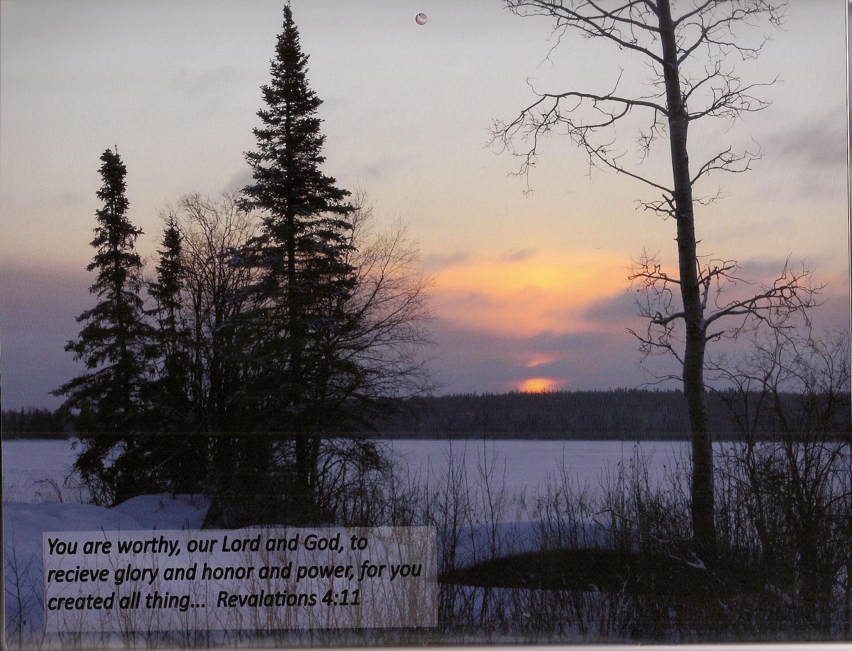 winter shore sunset round lake 2015