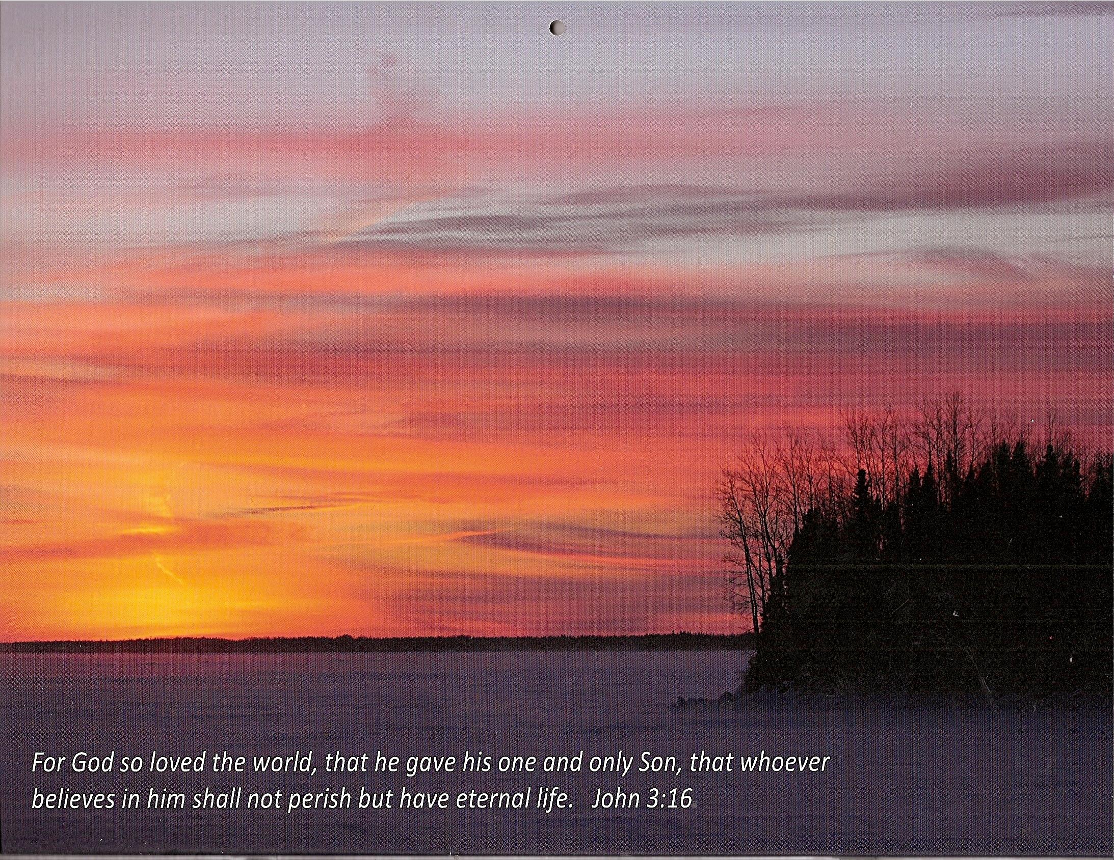 winter sunset round lake